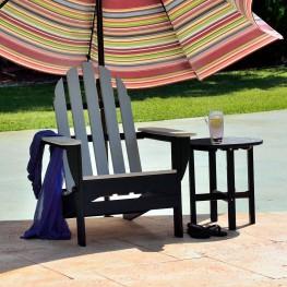POLYWOOD Black 'N Sand Folding Adirondack Chair