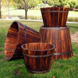 Round Tall Cedar Barrel Set of 4