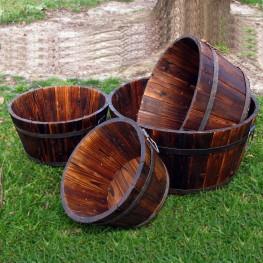 Round Shallow Cedar Barrel Set of 4