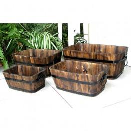 Rectangular Cedar Barrel  Set of 4